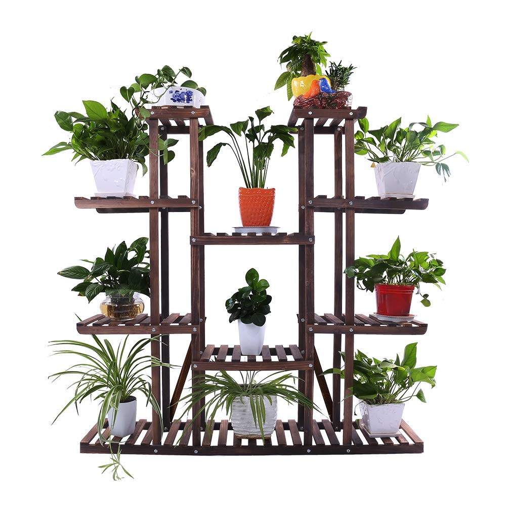 Ufine 9 Tier Wood Plant Stand 47.2'' High Widen Carbonized 17 Potted Flower Pot Organizer Shelf Display Rack Holder for Indoor Outdoor Patio Garden Corner Balcony Living Room by Ufine