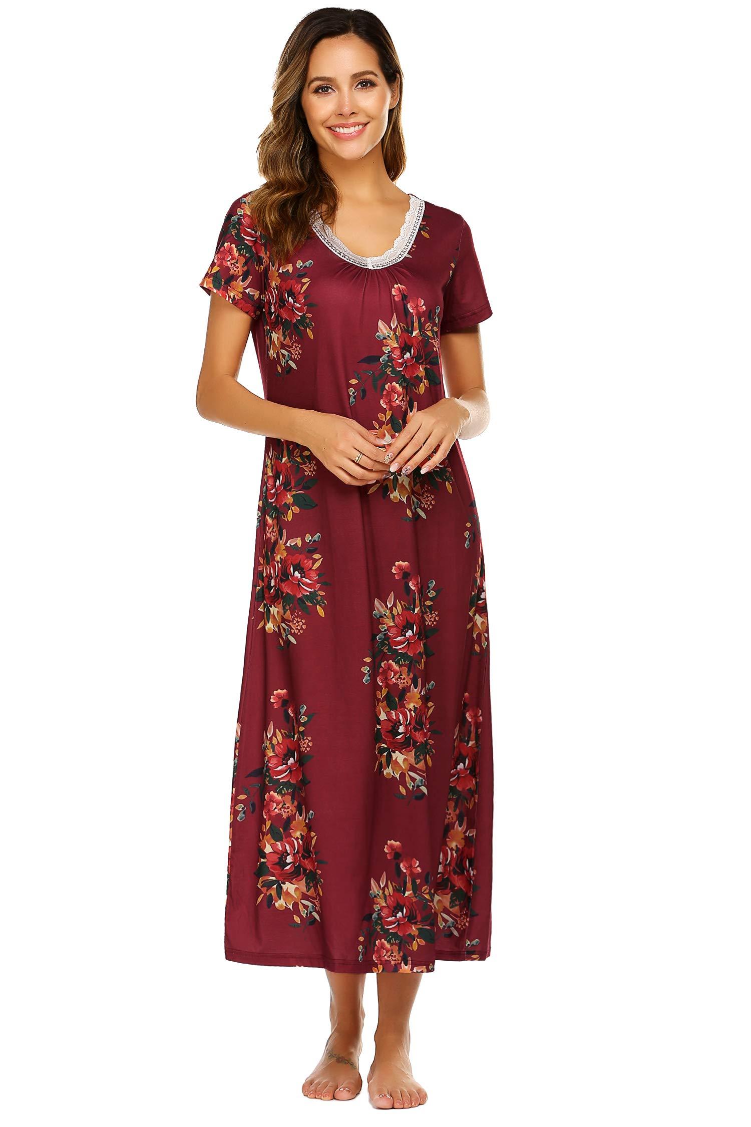 Ekouaer Women Nightgown Lounger Floral Printed House Dress for Women Sleepwear