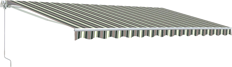 ALEKO AWM20X10MSTRGR58 Retractable Motorized Patio Awning 20 x 10 Feet Multi-Stripe Green