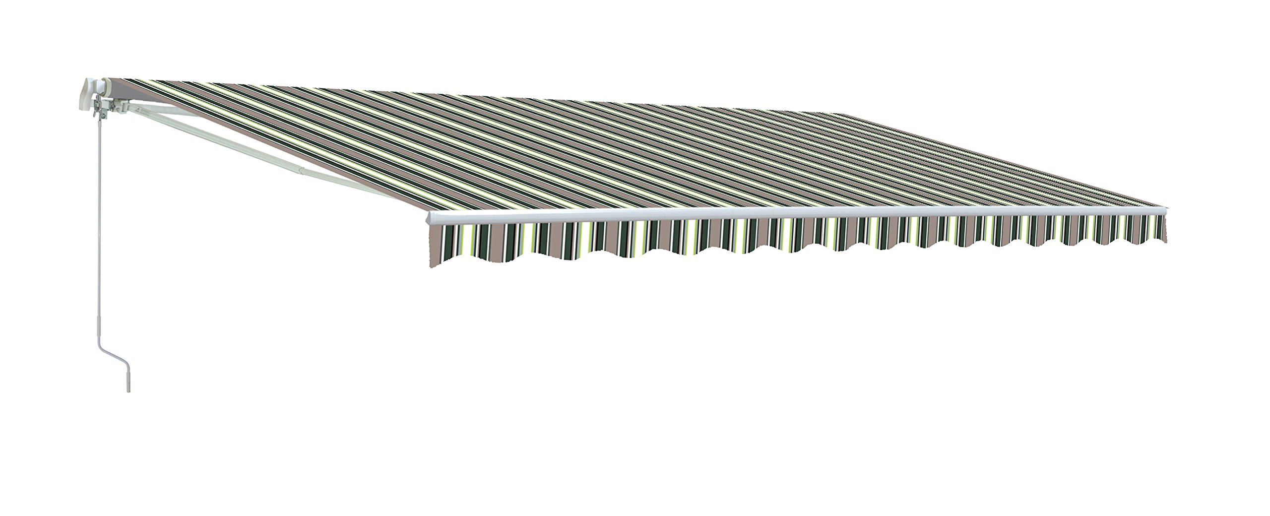 ALEKO AW12X10MSTRGR58 Retractable Patio Awning 12 x 10 Feet Multi-Stripe Green