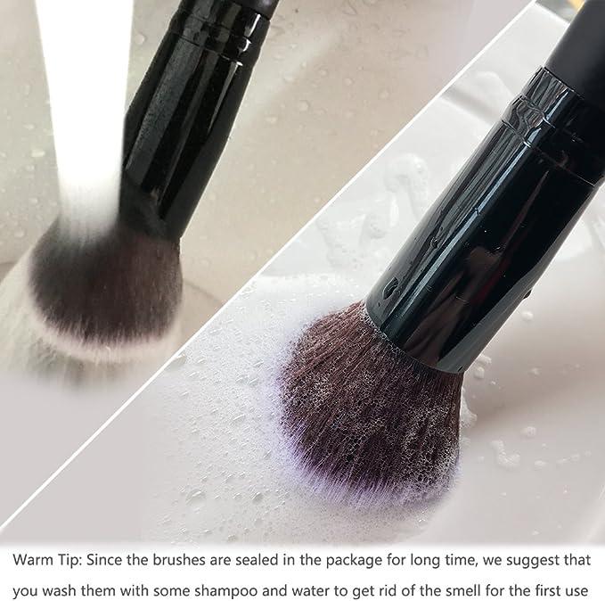 Qivange kit de brochas de maquillaje, brochas Kabuki para base, sombra de ojos, polvos, negro (10 unidades): Amazon.es: Belleza