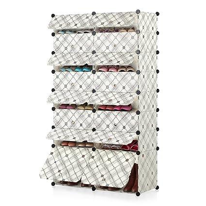 IKAYAA Multiuso 32 Pares Cubo de Bricolaje Estante de Zapatos de Plástico 16 Grids Almacenamiento de