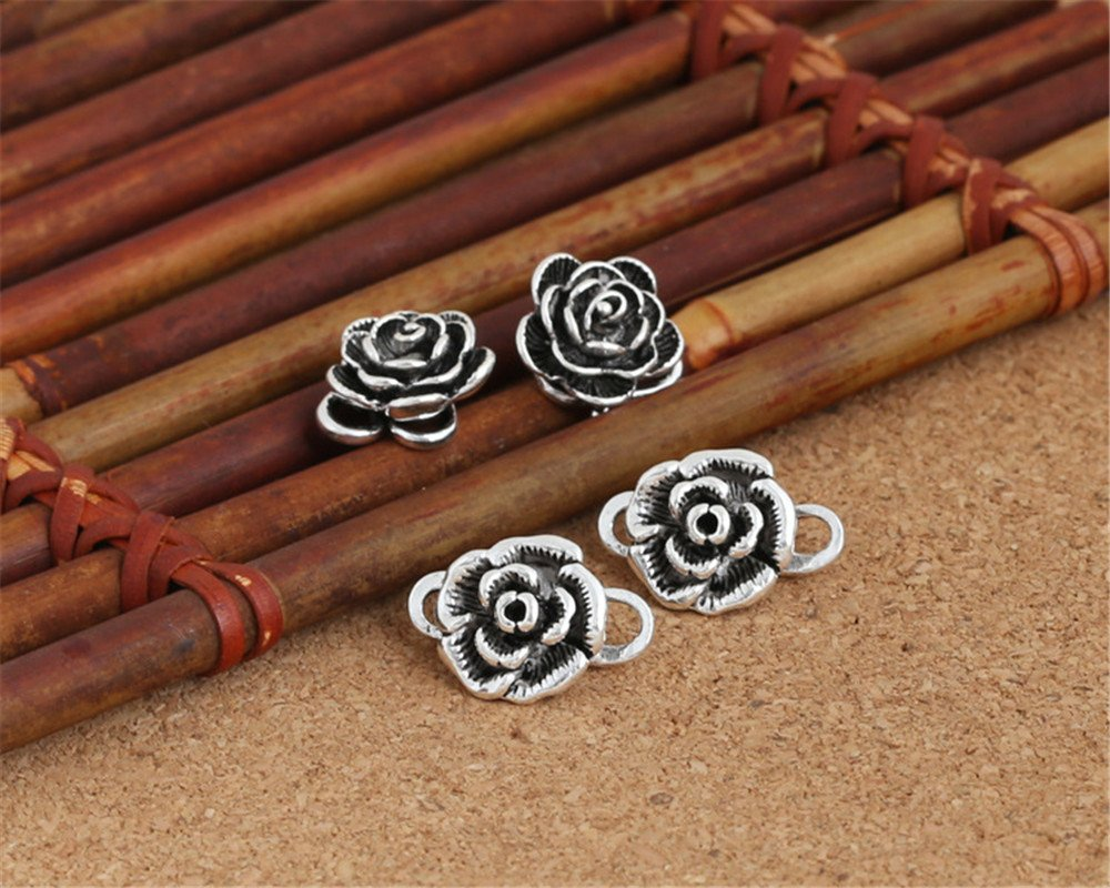 Luoyi 2pcs Tibetan Style Thai Silver Hook Clasps, with Rose Flower (C017Y) (1# (S-Hook clasps)) by Luoyi