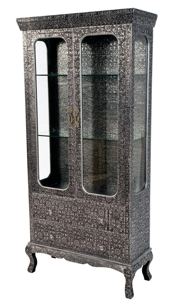 FLORAL PRINT EMBOSSED PRESSED METAL BLACKENED SILVER TWO DRAWER GLASS  SHELVES BOOKCASE DISPLAY CASE COLLECTORS CABINET: Amazon.co.uk: Kitchen &  Home