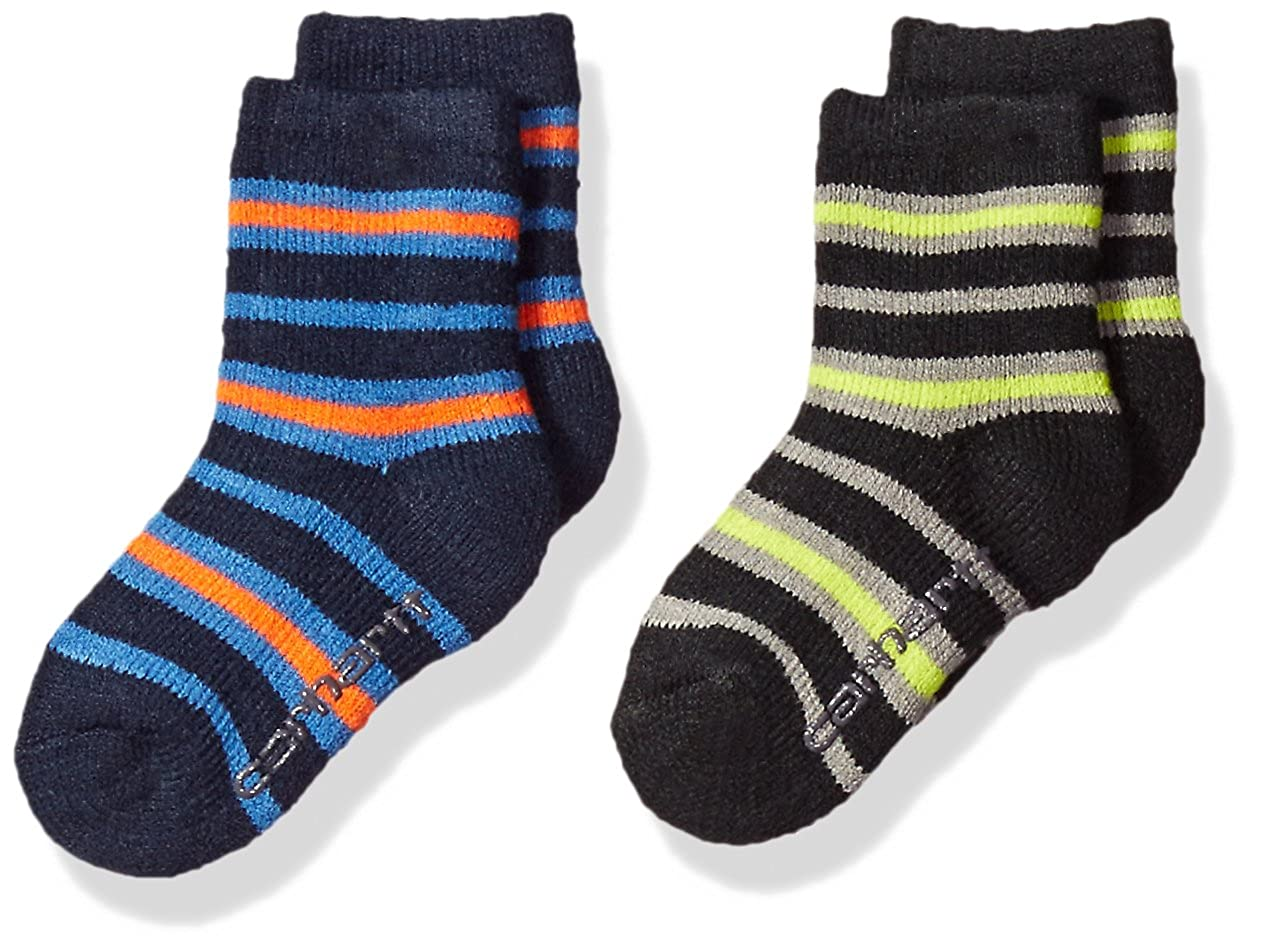 Carhartt Boys Toddler Crew Socks with Grippers 2-Pair BA861-2-WEB