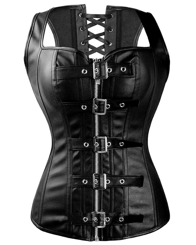 FUT Women Faux Leather Corset Top Gothic Steampunk Corsets Bustier Black Plus Size