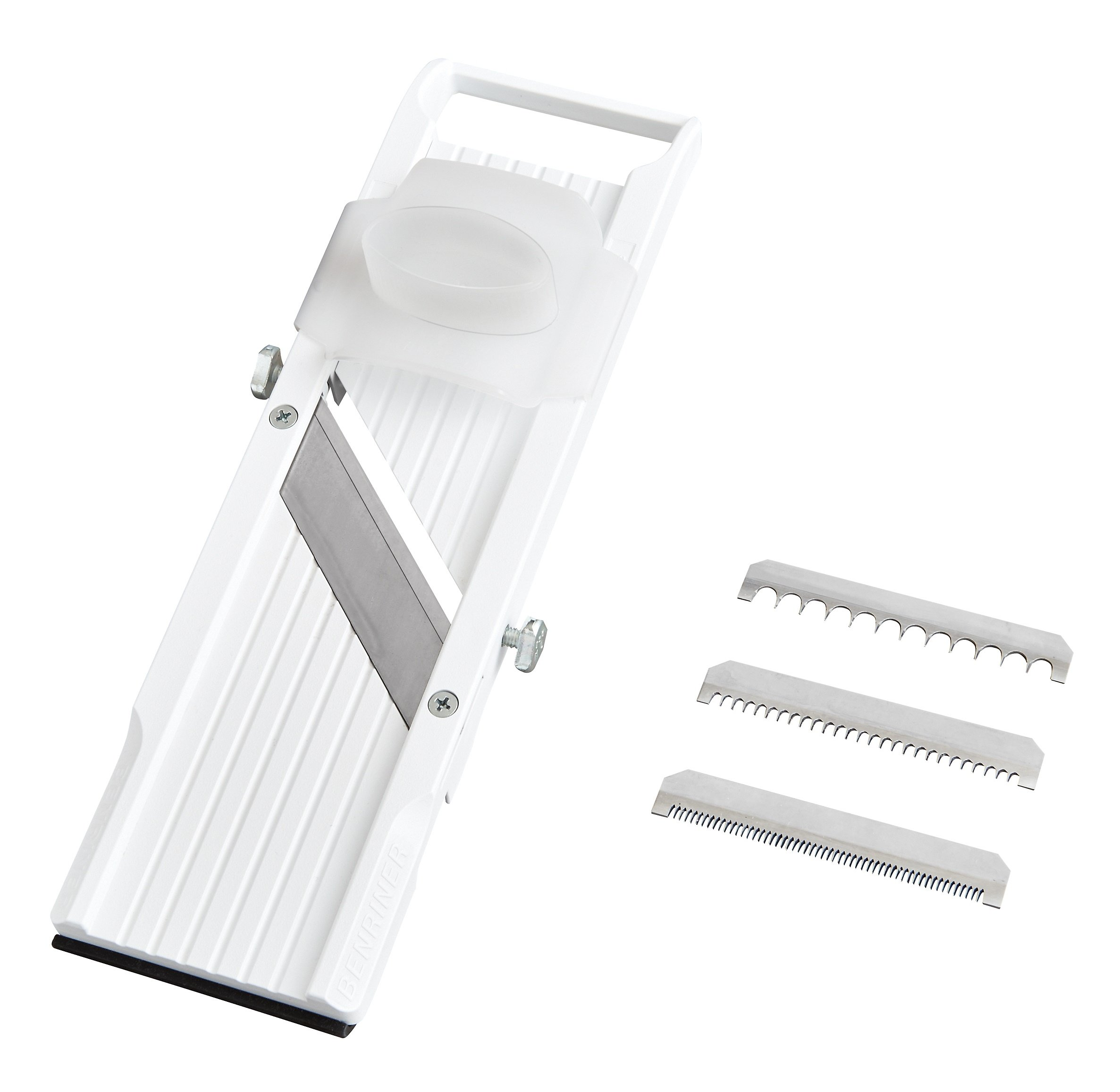 Benriner Mandoline Slicer, with 4 Japanese Stainless Steel Blades, BPA Free, 12.75 x 3.625-Inches, New Model