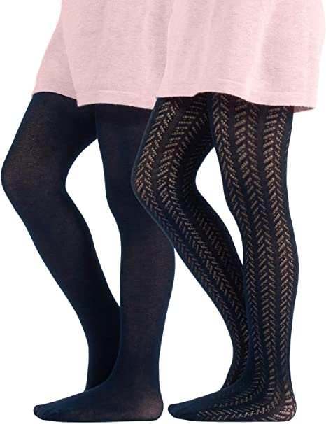 Fashion Patterned Tights for Girls 6-8 in Black
