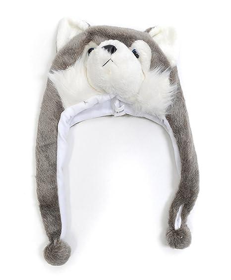 Amazon Com Hat Imals Gray Fox Plush Winter Hat Clothing