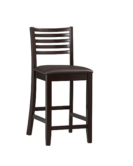 Marvelous Linon 01863Esp 01 Kd U Triena Collection Ladder Counter 24 Stool 17 W X 20 D X 37 H Espresso Frankydiablos Diy Chair Ideas Frankydiabloscom