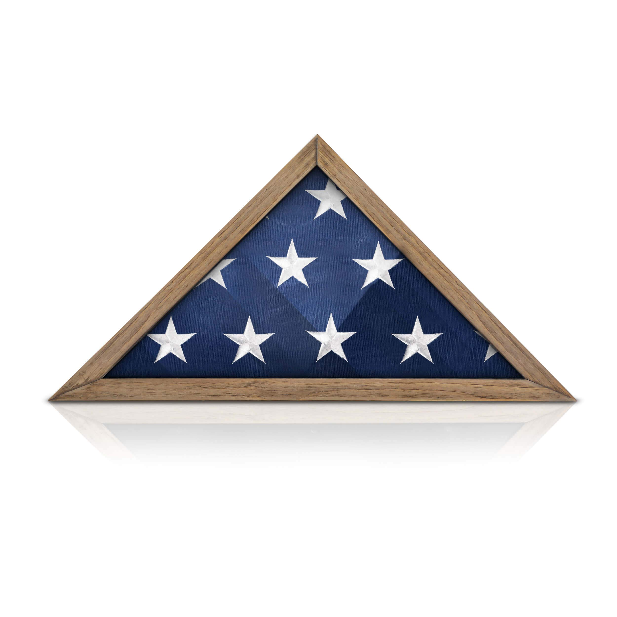Rustic Flag Case - SOLID WOOD Military Flag Display Case for 9.5 x 5 American Veteran Burial Flag, Wall Mounted Burial Flag Frame, - Flag Shadow Box to display folded flag. (Weathered Wood) by HBCY Creations (Image #4)