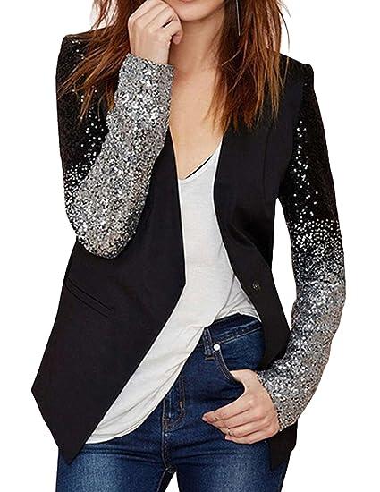 M-Queen Mujer Blazers Negocio Abrigo Lentejuela Delgado OL Chaqueta de Traje Corto Coat Outwear Negro S: Amazon.es: Ropa y accesorios