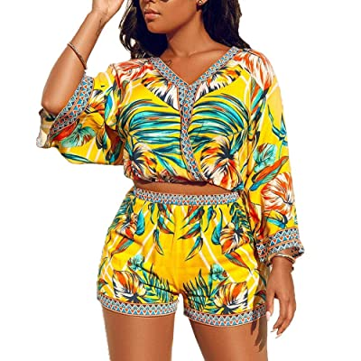 2 Piece Outfits for Women Summer Two Piece Crop Top Shorts Set Boho Floral Print Romper Jumpsuit: Clothing