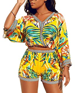 724370be0dd132 2 Piece Outfits for Women Summer Two Piece Crop Top Shorts Set Boho Floral  Print Romper