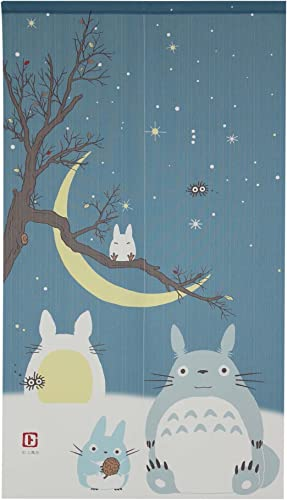Studio Ghibli Totoro Noren Curtain Tapestry Winter Sky and Crescent Moon