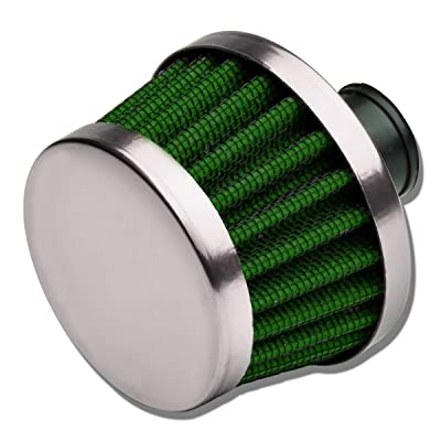 9MM Inlet Universal Chrome Cone Aluminum Crankcase Breather Filter (Green): Automotive