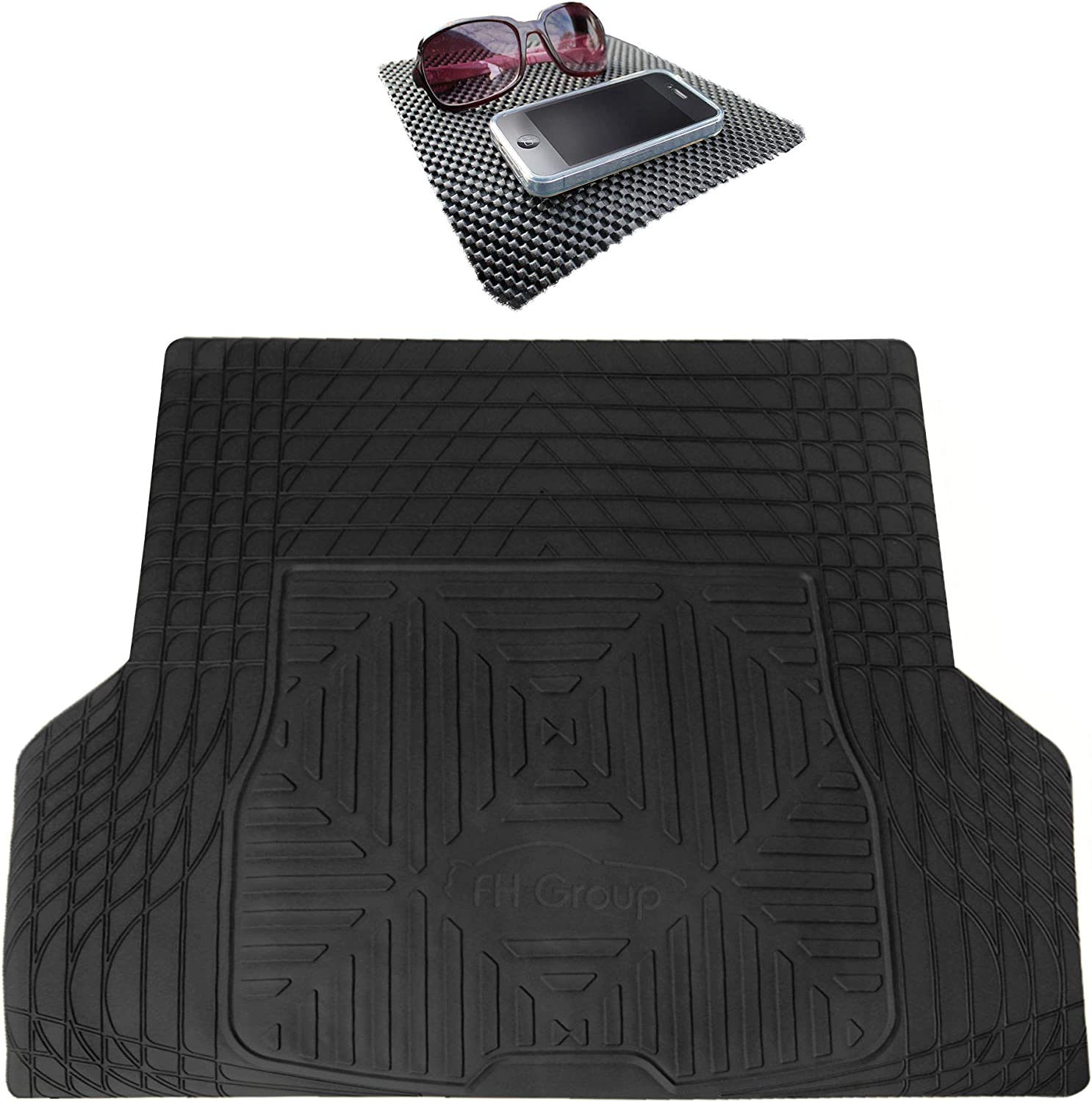 TLH Trimmable Quality Heavy Duty Rubber Cargo Mat Trunk Liner Universal for Trucks, Vans, SUVs Black Color w/Black Dash Pad