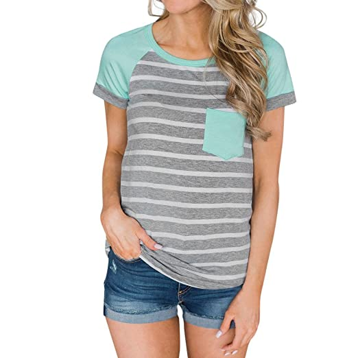 6c2287f7573 Amazon.com  Women Summer Short Sleeve Striped Patchwork T Shirt ...