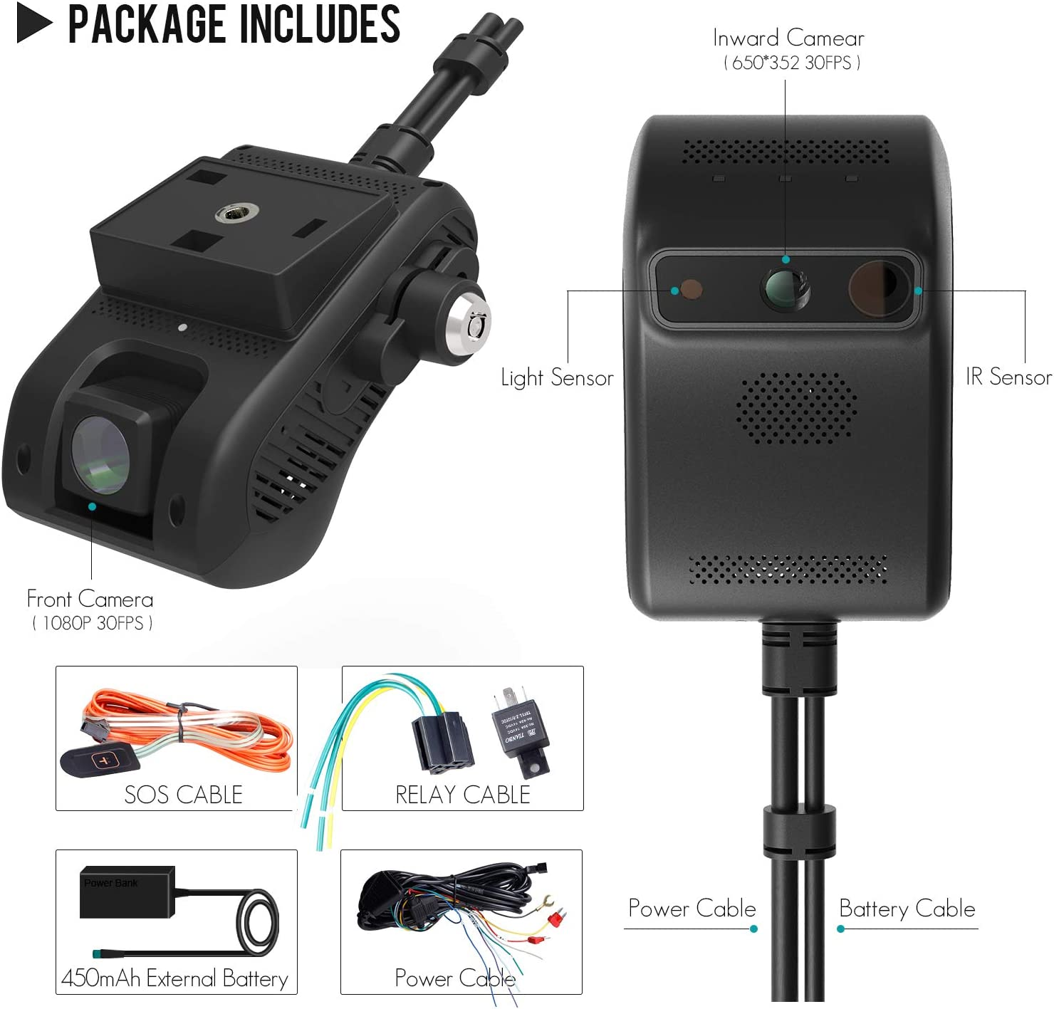 APP REMOTELY Control JIMI JC200 Dash Camera for Cars 3G WiFi Car Camera 1080P FHD Infrared Night Vision Car DVR Driving Recorder with Professional GPS Tracking System Dual Dash Cam Front and Cabin