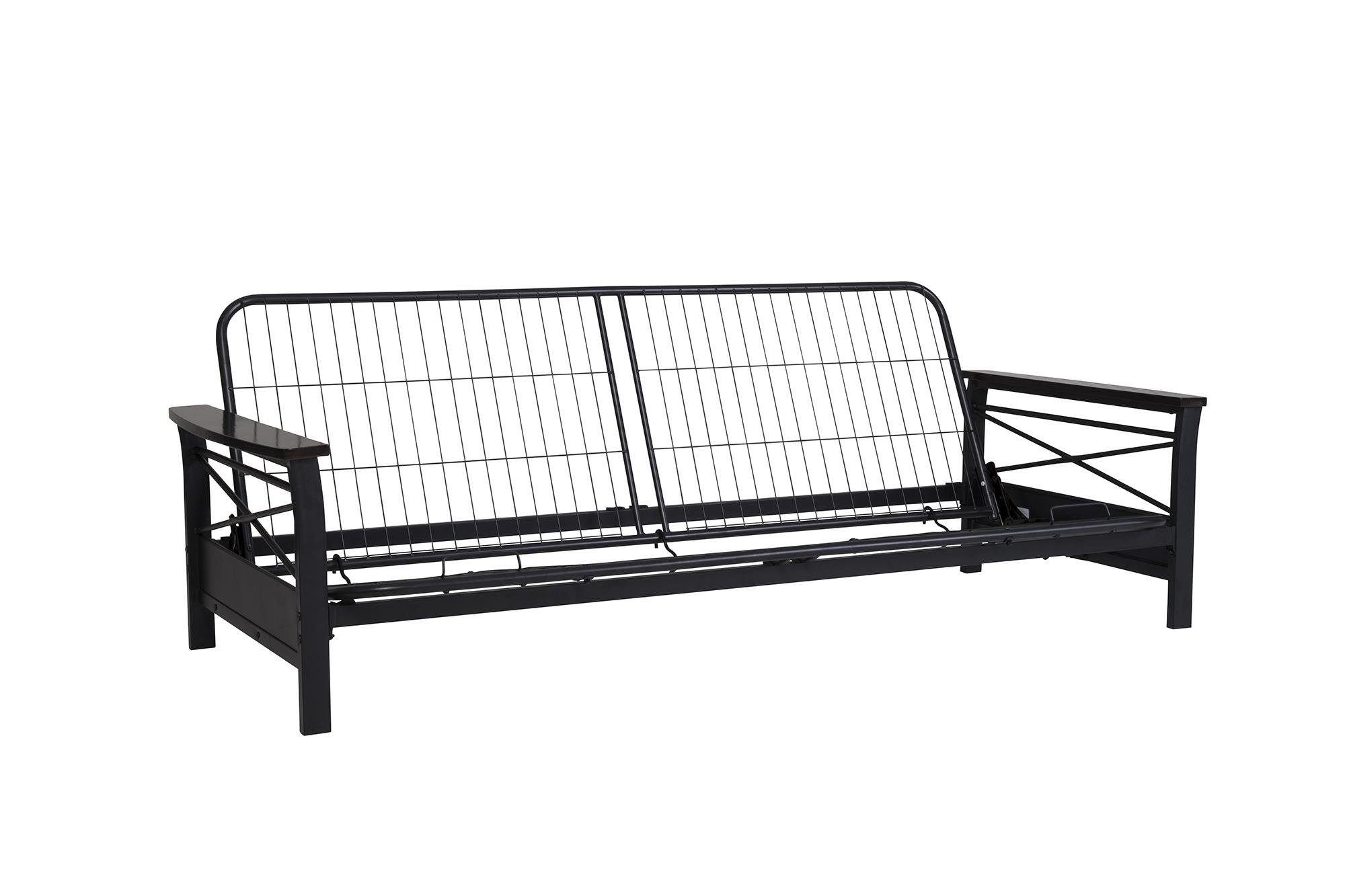 DHP Nadine Metal Futon Frame with Espresso Wood Armrests, Full Size, Mattress Not Included by DHP