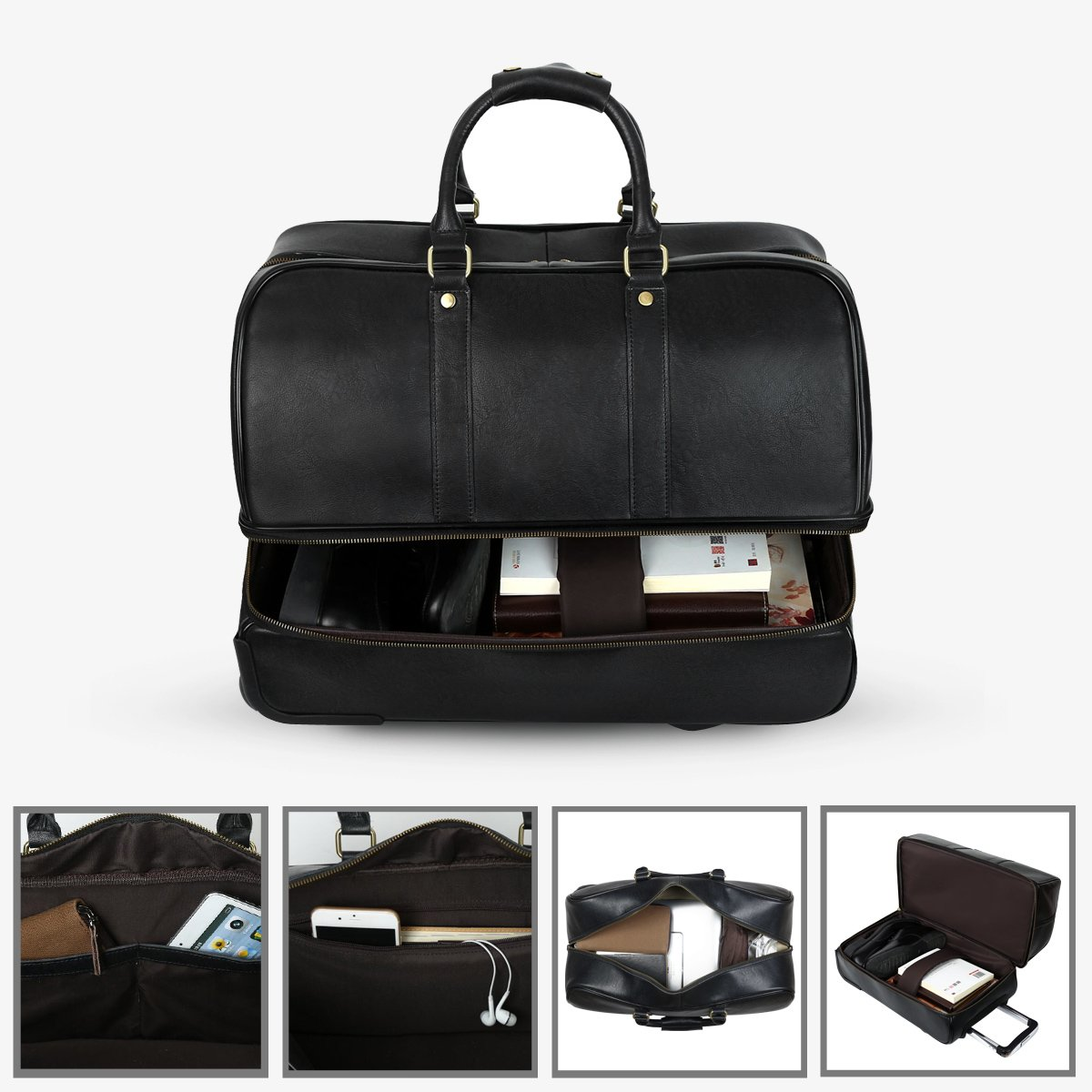 Leathario Men's Leather Luggage Wheeled Duffle, Leather Travel Bag (Black) by Leathario (Image #5)