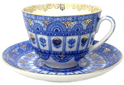 Lomonosov Porcelain Tea Cup and Saucer Spring Arches 7.8 oz/230 ml