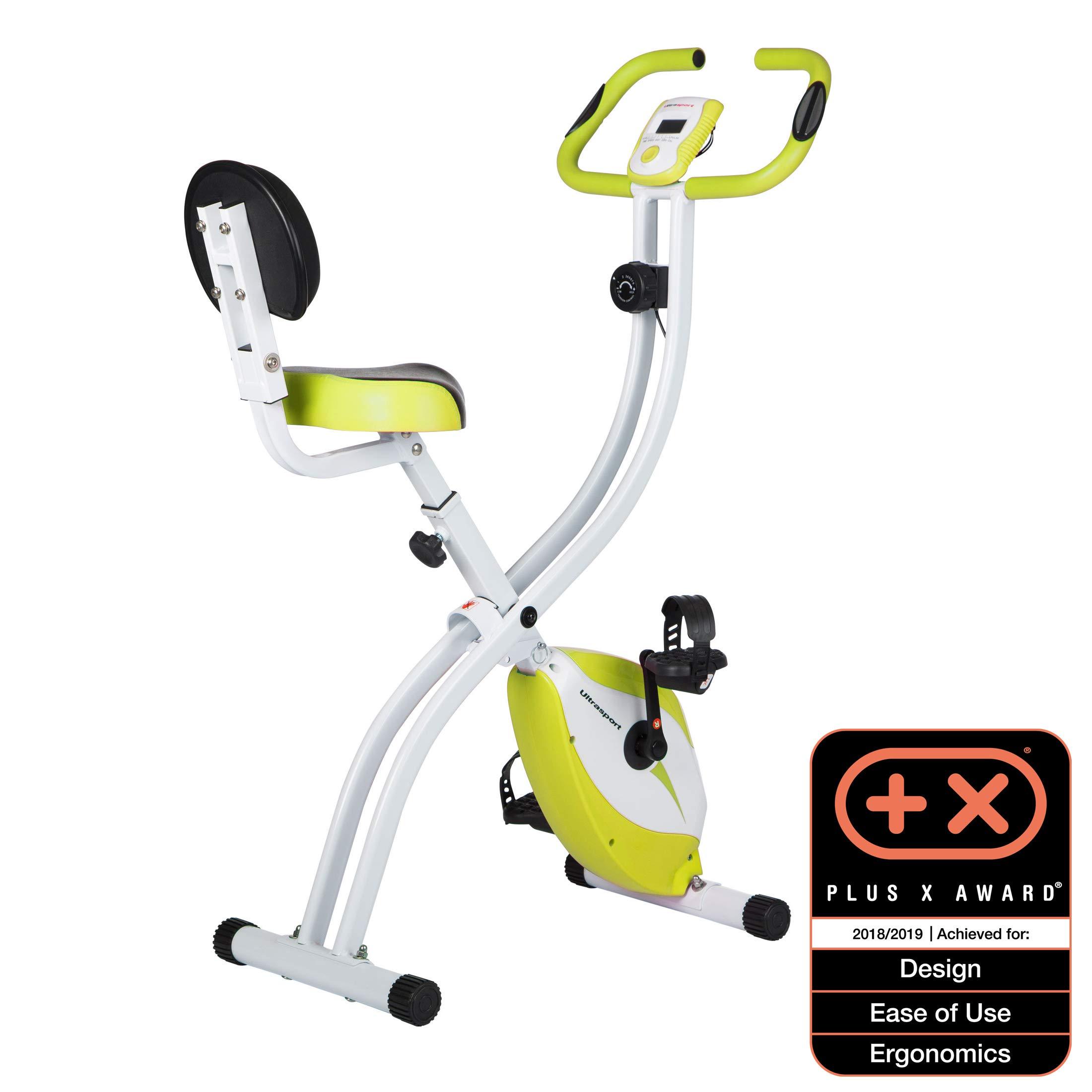 Ultrasport F-Bike 200B Bicicleta estática con sensores de pulso de mano, con respaldo, plegable, Verde product image