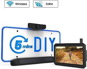 AUTO VOX Solar Wireless Backup Camera, 5 Mins DIY Installation, 5-inch HD Monitor with Digital Wireless Signal and HD Image Waterproof Rear View Camera for Trucks, Car,SUV,Pickup