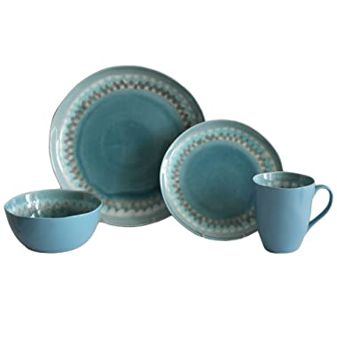 Baum Shibori 16-Piece Dinnerware Set in Aqua