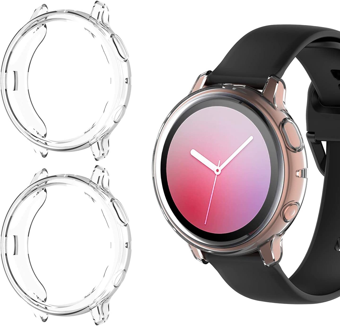 [2 Pack] Case for Samsung Galaxy Active 2 40mm, All-Around TPU Anti-Scratch Flexible Case Soft Protective Bumper Cover for Samsung Galaxy Watch Active ...