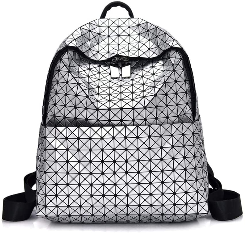Color : Silver LJL Fashion Casual Backpack Korean Fashion Geometry Sewing Backpack College Student Bag