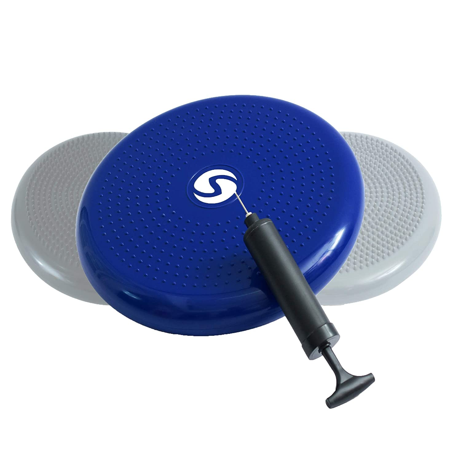 Comfortable ergonomic balance cushion with pump 33 cm round garden, bench for fitness or outdoors orthopaedic air pad also appropriate for children