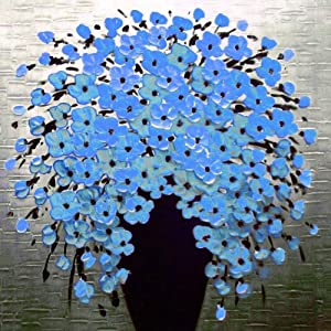 DIY 5D Diamond Painting by Number Kits, Crystal Rhinestone Diamond Embroidery Paintings Pictures Arts Craft for Home Wall Decor, Full Drill,Blue Flowers