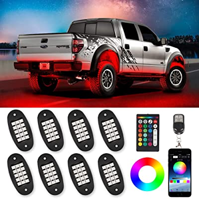 TACHICO RGB LED Rock Lights with APP/Double RF Remote Control,120 LEDs Multicolor Underglow Neon IP68 Flashing Music Timing Mode Light Kits for Jeep Off Road Truck ATV Motorcycle, DC 12V£¨8 Pods£: Automotive