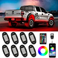 TACHICO RGB LED Rock Lights with APP/Double RF Remote Control,120 LEDs Multicolor Underglow Neon IP68 Flashing Music…