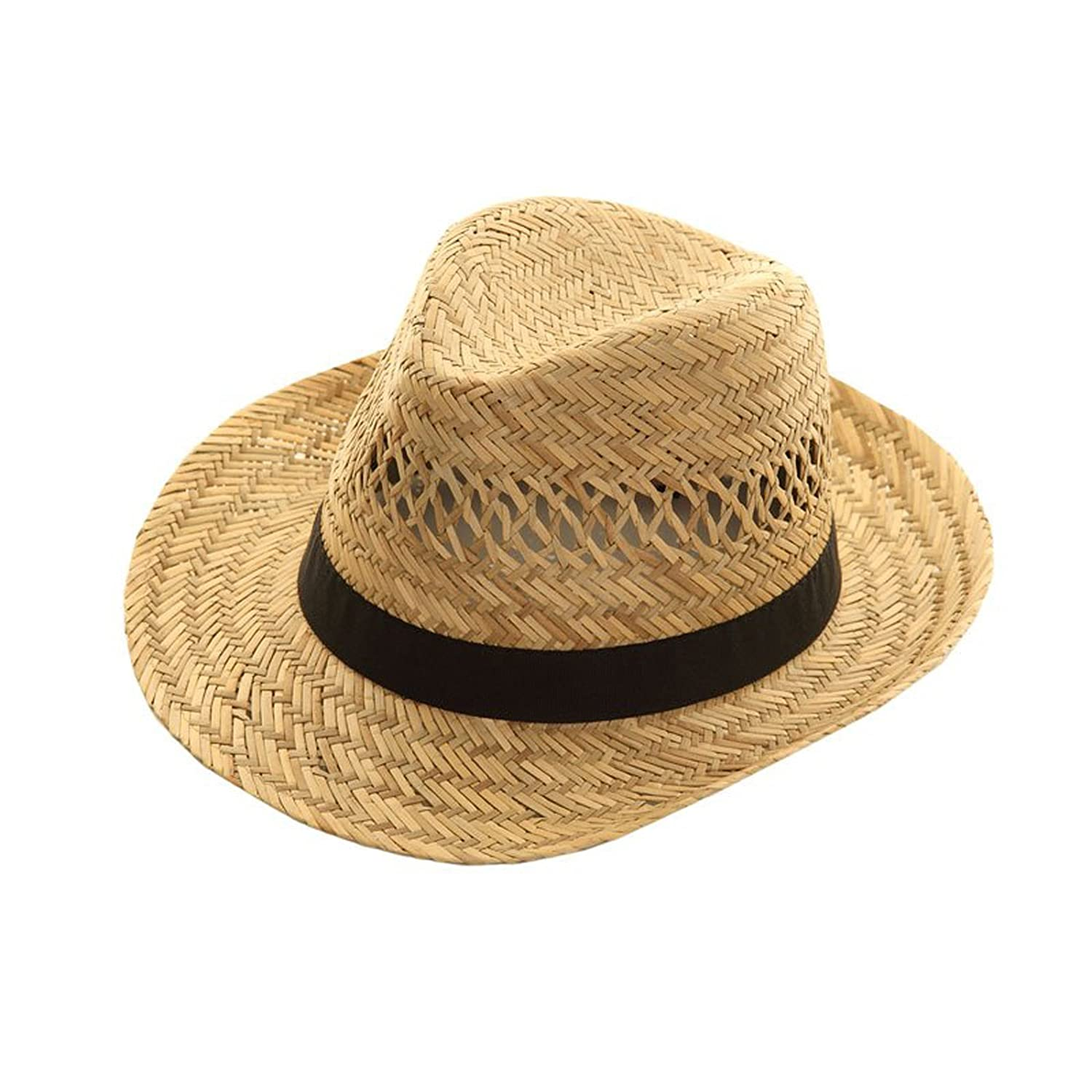 Top Brand Unisex Natural Straw Trilby Fedora Hat with a Black Band. d8e5bf2433d9
