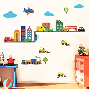 decalmile Construction Vehicles Wall Decals Cars Transportation Boys Wall Stickers Baby Nursery Childrens Bedroom Living Room Wall Decor