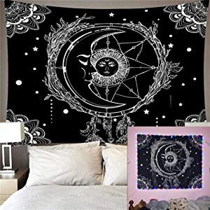Sun and Moon Tapestry Burning Sun with Star Tapestry Wall Hanging 30x40 inch Psychedelic Tarot Tapestry Black and White Mystic Tapestry Wall Hanging for Bedroom Living Room Dorm by GREENPURE
