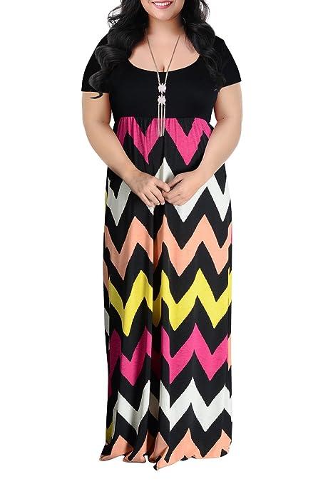 Nemidor Women's Chevron Print Summer Short Sleeve Plus Size Casual Maxi Dress(14W,Wave Print)