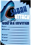 Shark Birthday Party Invitations - Fill In Style (20 Count) With Envelopes by m&h invites