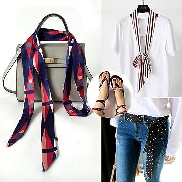 Multifuncional Moda Mujer con largo fino bufanda corbata Sash ...