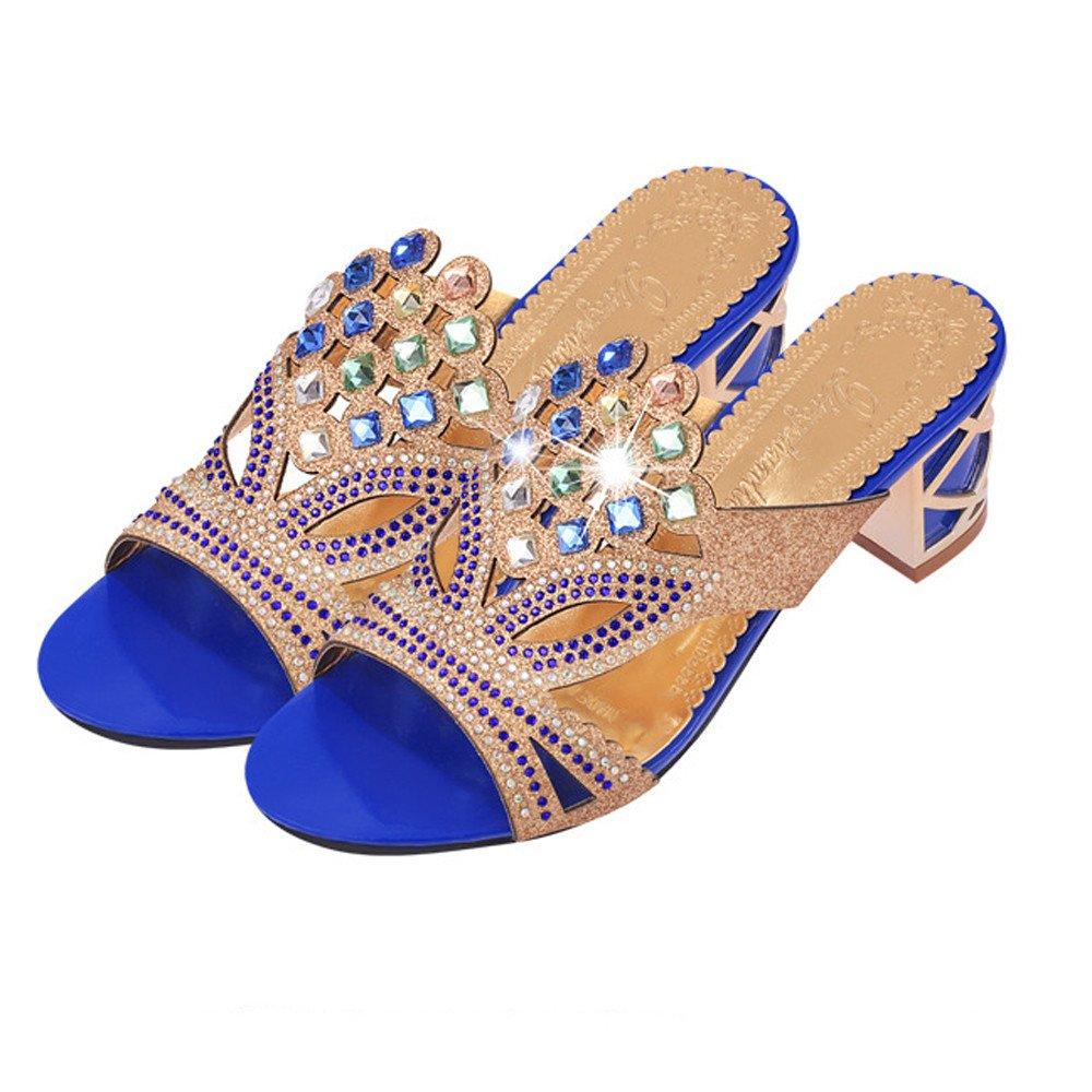 Luckhome Schuhe Damen Sandale Neue Sommermode Frauen Große Strass High Heel SandalettenStrand Neue Sommermode Frauen großen Strass High Heel Sandalen Damen Party Schuhe