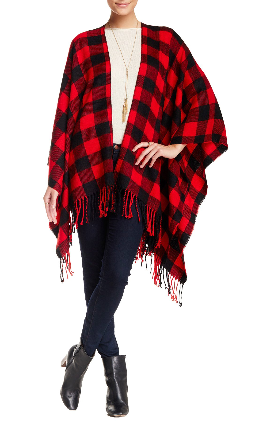 Angie Soft Knit Buffalo Woven Plaid Checkered Cold Weather Fringe Scarf Oversized Blanket Wrap Poncho (Red)