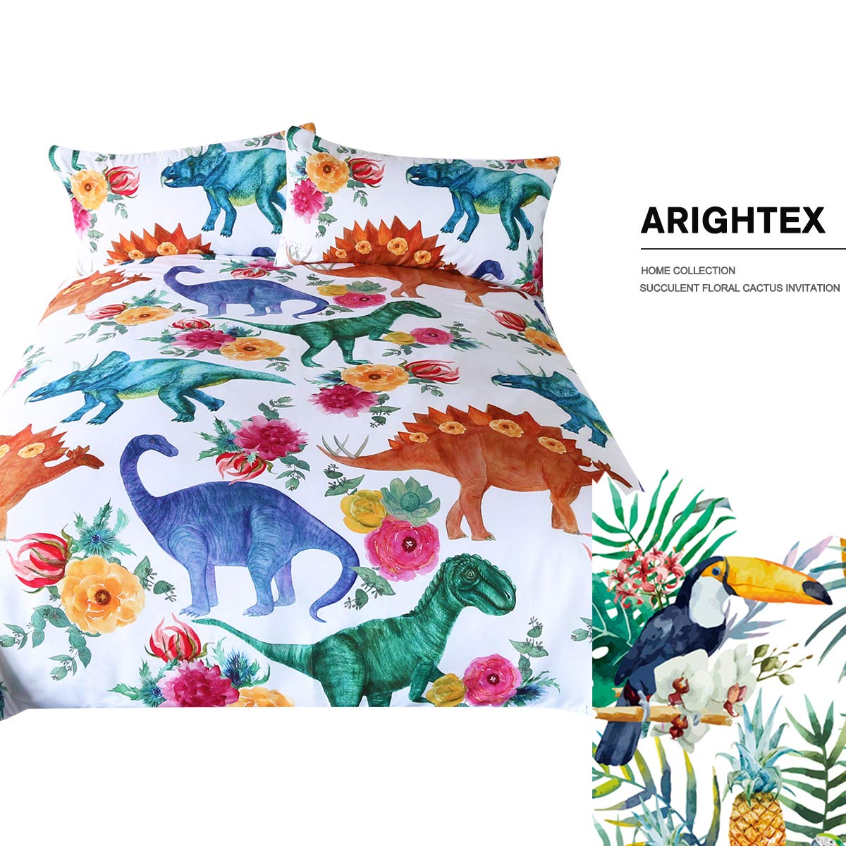 ARIGHTEX Boys Dinosaur Twin Size Bedding Watercolor Dinosaurs in Blue Green 3 Pieces Girly Flowers Duvet Cover Set by ARIGHTEX (Image #2)