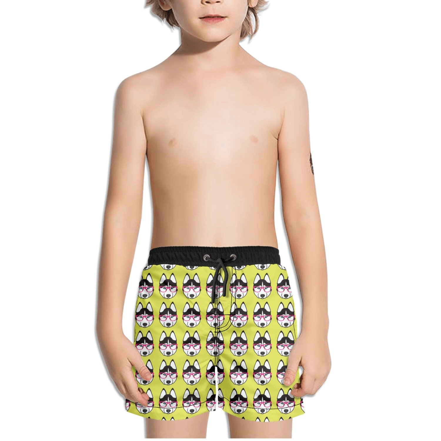 FullBo Cute Husky with Pink Glasses Pattern Little Boy's Short Swim Trunks Quick Dry Beach Shorts