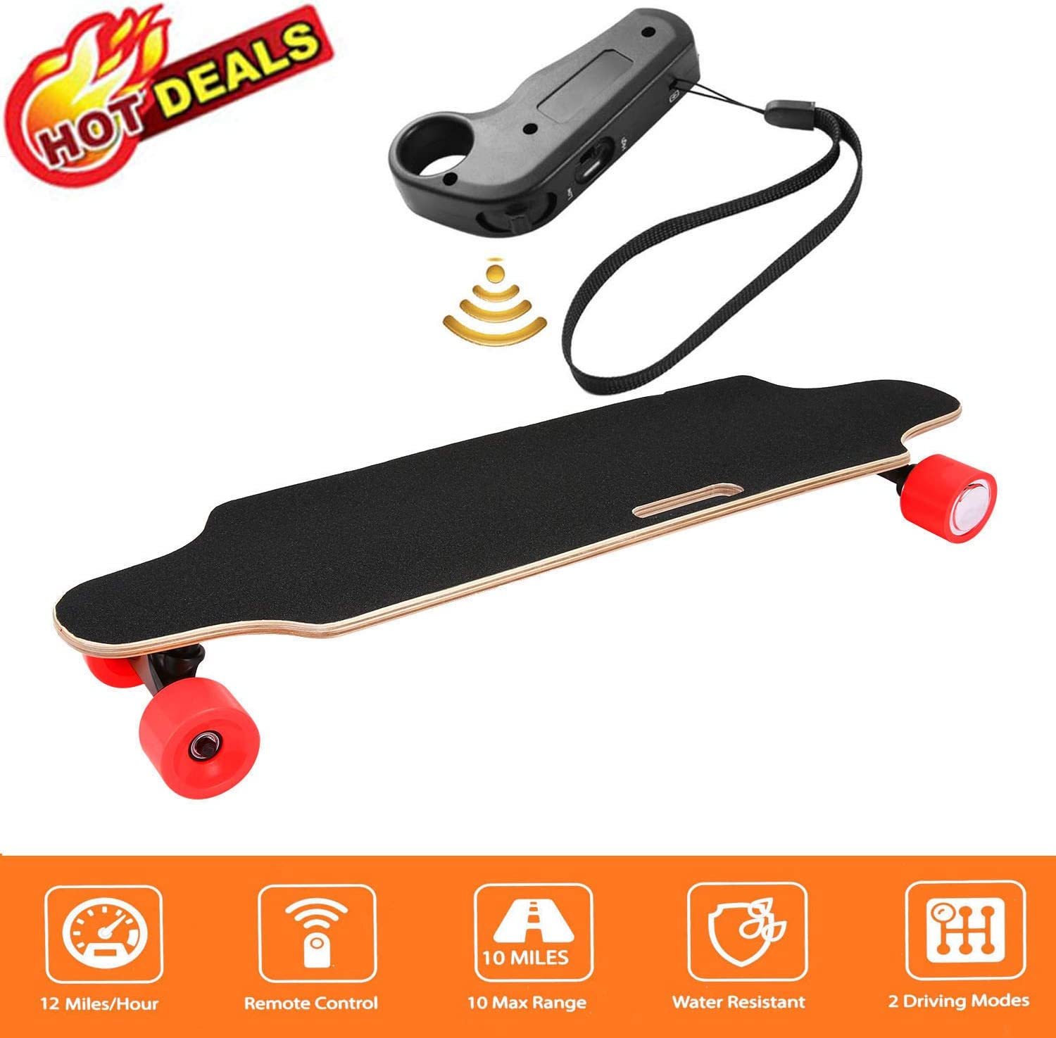 Aceshin Electric Skateboard with Remote Control for Adults Teens Youths 250W Dual Motor 20KM H Top Speed 10 KM Range Longboard 7 Layers Maple Waterproof IP54 E-Skateboard