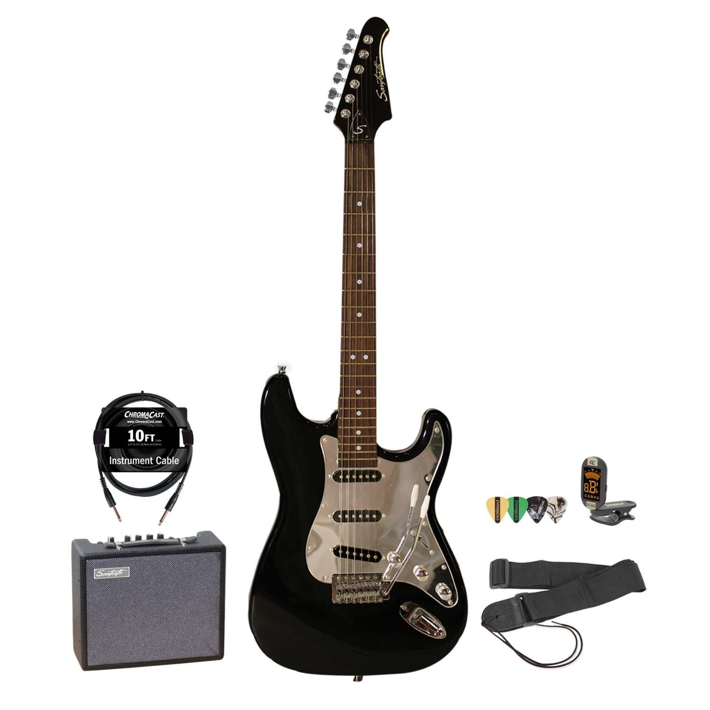 Sawtooth Black Electric Guitar w/ Chrome Pickguard - Includes: Accessories & 10-Watt Amp