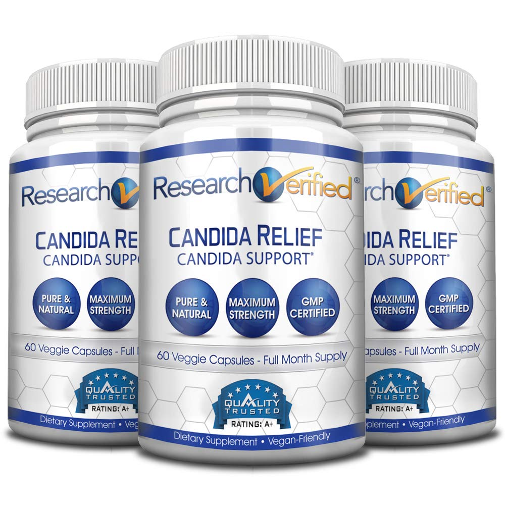 Research Verified Candida Relief - #1 Yeast Infection & Candida Supplement - 100% Natural - w/ 5 strains of probiotic healthy bacteria and Vitamin B & C - 100% Money Back - 3 Bottles (3 Months Supply) by Research Verified