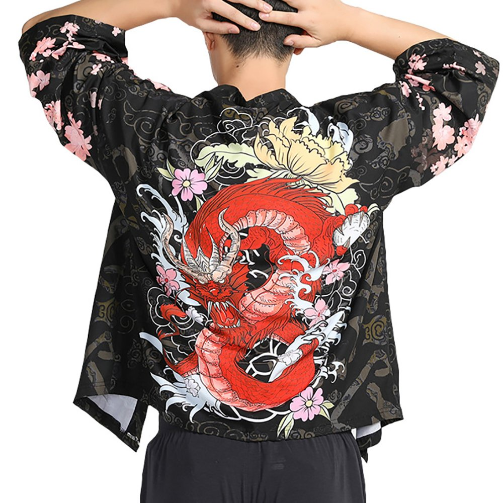 Men Japanese Yukata Coat Kimono Outwear Vintage Casual Top Black Dragon by Hao Run