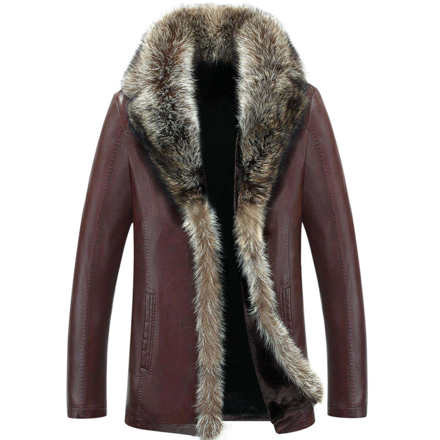 Fresh House Winter Sheep Leather Men Raccoon F-ur Men Long Solid Color Thickening Velvet Leather Coat Six Toys for Women Shirt,As Picture